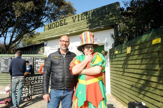 Mark Wilson, owner of Southsea Model Village with Leto Kitchen known as Sylvester the balloon jester.  Picture: Sarah Standing (020421-6028)