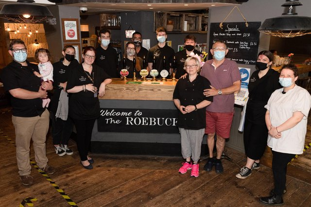 The team at the Roebuck Inn. Picture: Keith Woodland (270621-4)