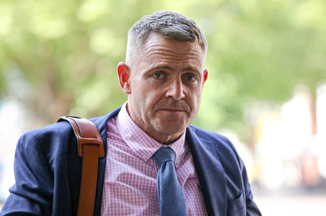 Phillip Gazzard arriving at Portsmouth Coroner's Court before giving evidence in the case of the death of Thomas Toomer (jpns 150621-)