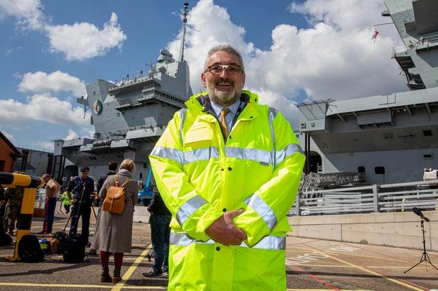 Steve Hopper, head of naval base operations, in front of HMS Queen Elizabeth.  Picture: Habibur Rahman