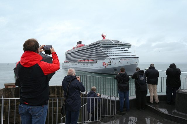 Arrival of Virgin cruise ship Scarlet Lady in Portsmouth. Picture: Chris Moorhouse (jpns 210621-01)