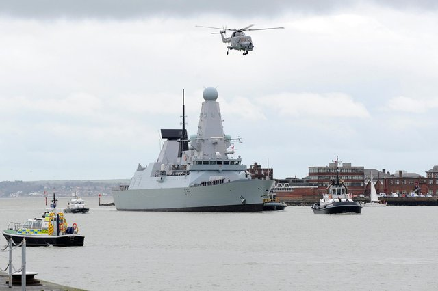 HMS Defender in Portsmouth. Picture: Sarah Standing (143541-8622)