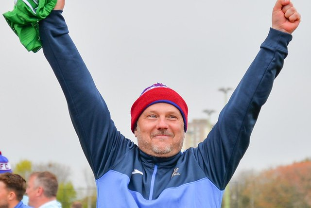 US Portsmouth boss Glenn Turnbull celebrates his side's FA Vase quarter-final victory over Flackwell Heath last weekend. Picture: Martyn White.