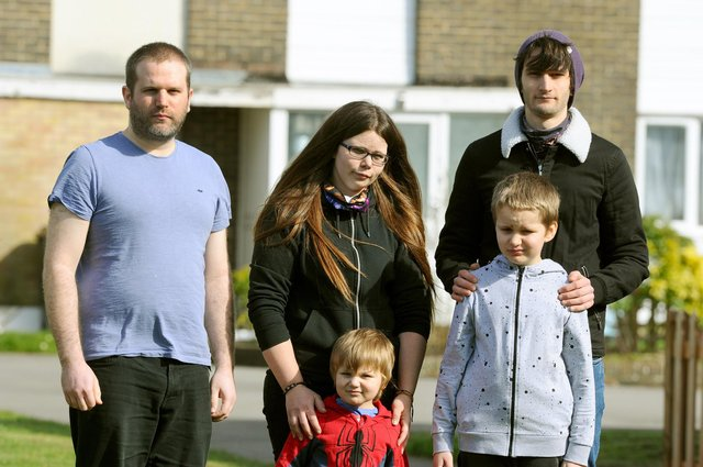 Pictured left to right:  Steven Gonella (31) with his sister Zoe Gonella (29), brother Doug Gonella (27) and Zoe's children (front l-r) Eli Gonella (3) and Zain Gonella (8).  Picture: Sarah Standing (110321-2274)