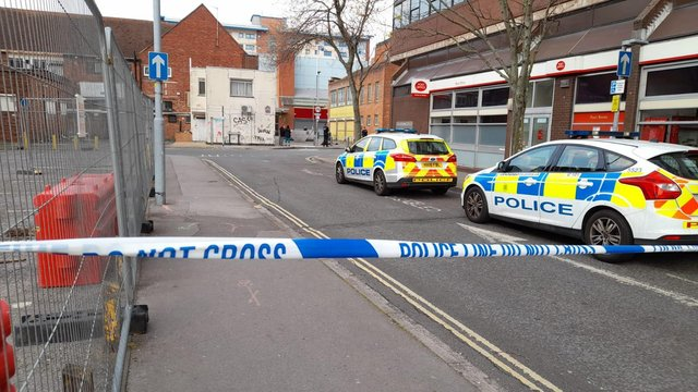 Police in Slindon Street in Portsmouth city centre after an incident which has seen Arundel Street, Yapton Street and Slindon Street taped off April 30.