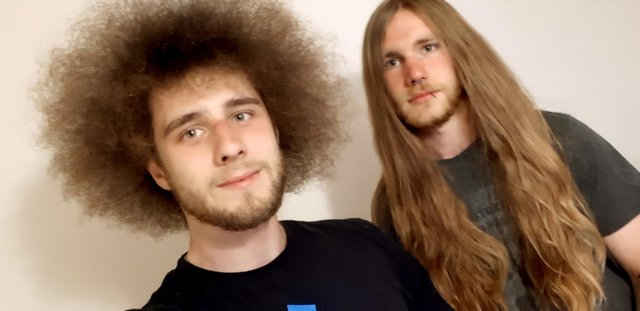 Tommy Roe, left, and Rhys Morgan from Gosport are cutting their hair for charity.