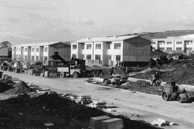 Looking west along a newly-built Allaway Avenue, Paulsgrove. Picture: Barry Cox collection