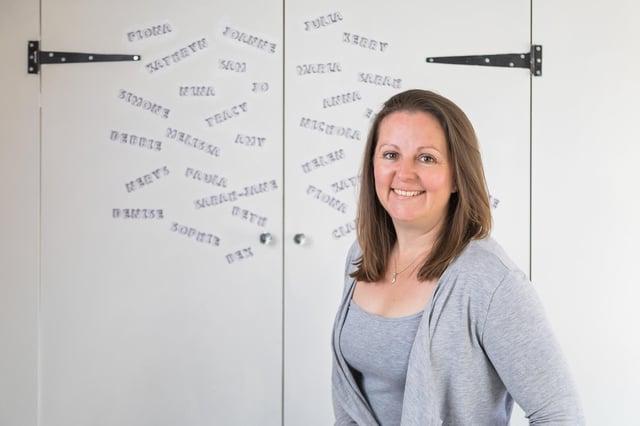 Sarah-Jane Lewis dans sa salle de traitement, avec les noms de certains des clients qu'elle a aidés. Photo : Mike Cooter (100521)