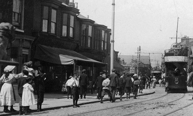 Bedford's on the left in Fawcett Road 1906 This wonderful photograph looking north up Fawcett Road on a hot summers day. In the distance can be seen the roof of Rugby Road Church which still stands, although now flats.