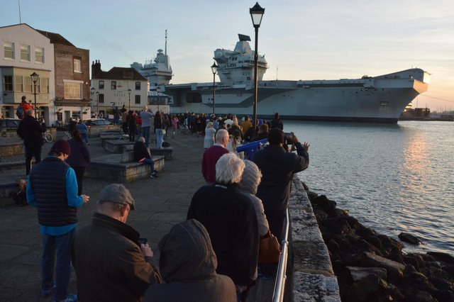 HMS Queen Elizabeth returns to Portsmouth Naval Base following sea trials and a visit to western Scotland. Issue date: Monday March 22, 2021. Picture: Ben Mitchell/PA Wire
