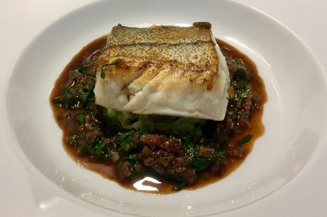 Haddock with red wine and bacon by Lawrence Murphy