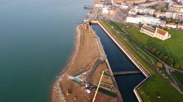 Aerial view of sea defence works being carried out at Long Curtain Moat in Southsea. Picture: Portsmouth City Council