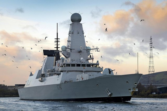 Library Image: Type 45 destroyer HMS Defender arriving in her affiliated city of Glasgow.