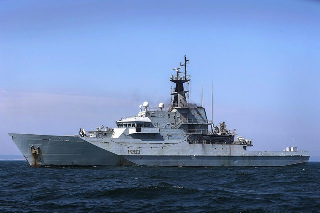 HMS Mersey has been shadowing seven Russian ships alongside eight other Royal Navy vessels in UK waters