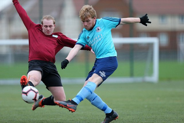 Bobby Read, right, was on target as Portchester Rovers won 2-0 against Mob Albion. Picture: Chris Moorhouse