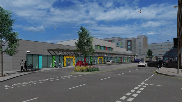 CGI of the new A&E at Queen Alexandra Hospital in Cosham