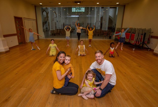 Lucy Daly and her husband, Lee and son, Cory 11 months and Alani 4 with dance academy students at Lucy Kate Star Academy, Fratton, Portsmouth on 18 June 2021  Picture: Habibur Rahman