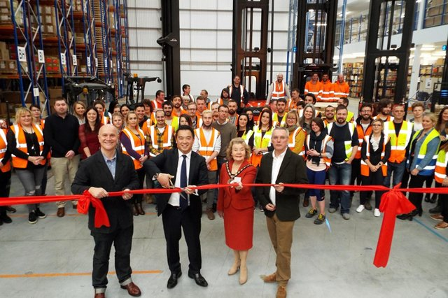 Alan opens the FatFace distribution centre at Dunsbury Park, picture before Covid