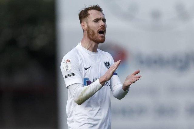 Tom Naylor of Portsmouth during the Sky Bet League One match between Crewe Alexandra and Portsmouth at Alexandra Stadium on April 13th 2021 in Crewe, England. (Photo by Daniel Chesterton/phcimages.com)