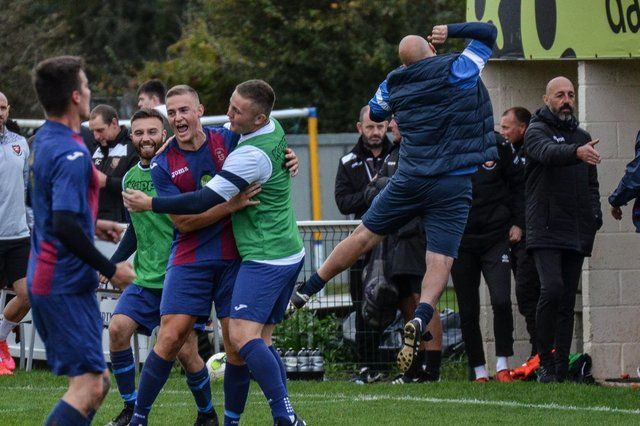 US Portsmouth celebrate their shock FA Vase victory at AFC Portchester earlier this season. Another win against higher division Christchurch this weekend will take them into the last 16 and provide them with their fourth Wessex Premier scalp in five Vase rounds