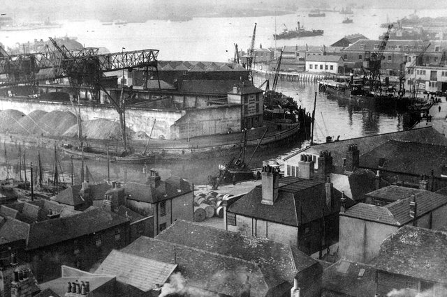 The Camber Dock, Old Portsmouth, taken from the top of the cathedral  bell tower circa 1930. Picture: costen.co.uk