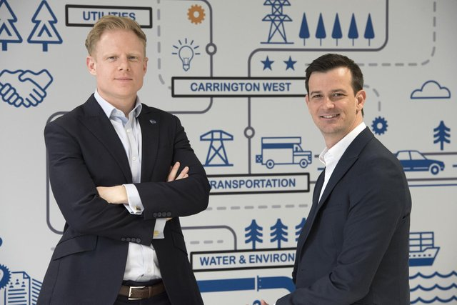 Managing director James Fernandes and co-founder Simon Gardiner from Carrington West. Picture by Chris Pearsall.
