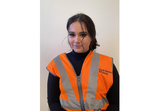 Cydney Archer, an apprenticerolling stock technicianatSouth WesternRailway, is studying Level 3 Rail Technician Apprenticeship at Fareham College's CEMAST campus