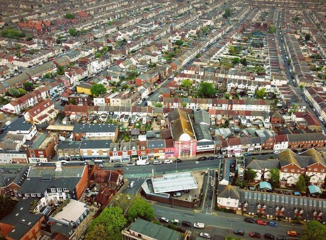 An aerial view of the densely population North End neighbourhood in Portsmouth.