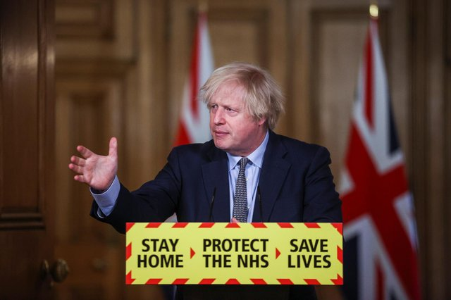 Prime Minister Boris Johnson during a media briefing in Downing Street, London, on coronavirus (Covid-19). Picture date: Tuesday March 23, 2021.