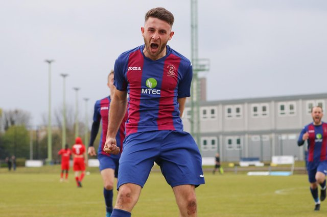 Harry Sargeant celebrates after scoring US Portsmouth's second goal in the FA Vase quarter-final win against Flackwell Heath. Picture: Stuart Martin