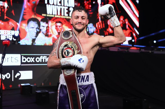 Mikey McKinson with his welterweight WBO Global belt. Picture By Mark Robinson (Matchroom Boxing)