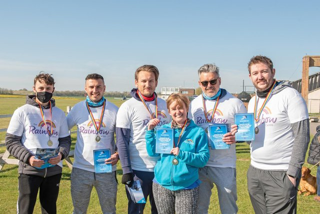 Supporters of the Rainbow Centre in Fareham took on a daring skydive to raise funds. Pictured: Fenton Cowell, Alex Uppal, Matt Hutchings, Vanda Varga, Richie Wagstaffe and Matt Brown. Picture by: Steven J Phyall from Zooming Photography