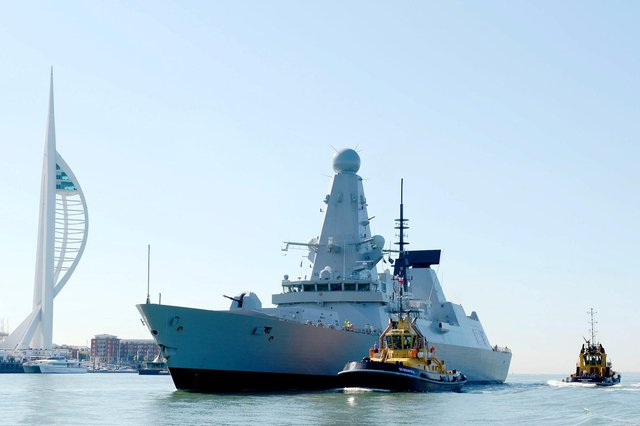 HMS Defender pictured sailing into Portsmouth. The ship has been at the centre of an international incident after Russia claimed its forces had fired a warning shot at the ship in the Black Sea. Britain has denied this happened.