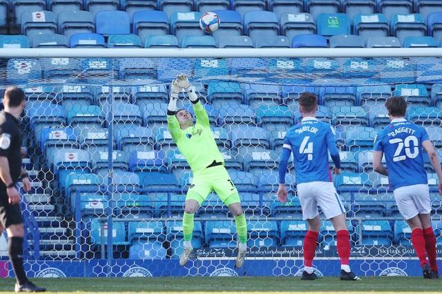 League Division 1 - Portsmouth vs Gillingham - 27/02/2021Portsmouth's Craig MacGillivray makes a save