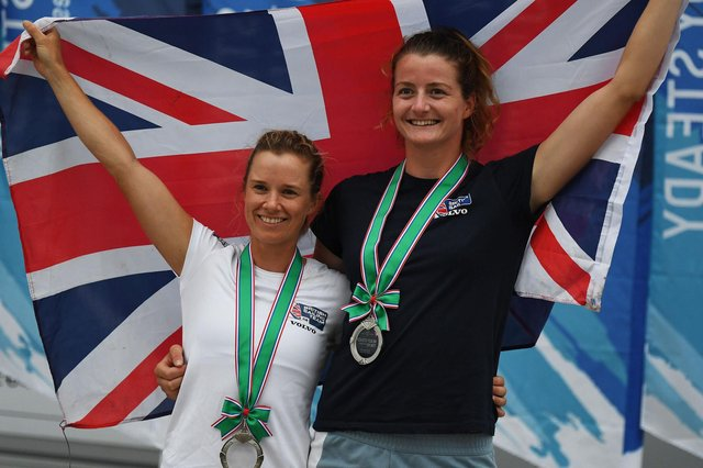 Eilidh McIntryre, right, and Hannah Mills. Picture: Charly Triballeau/Getty Images.